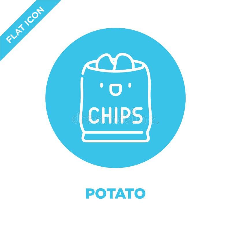 il vettore dell'icona della patata da porta via la raccolta Linea sottile illustrazione di vettore dell'icona del profilo della p illustrazione di stock