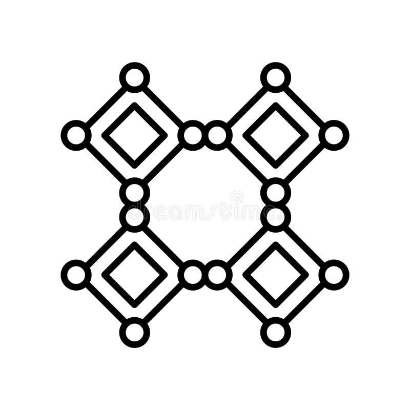 Il vettore dell'icona delle molecole isolato su fondo bianco, molecole firma, linea sottile elementi di progettazione nello stile illustrazione vettoriale