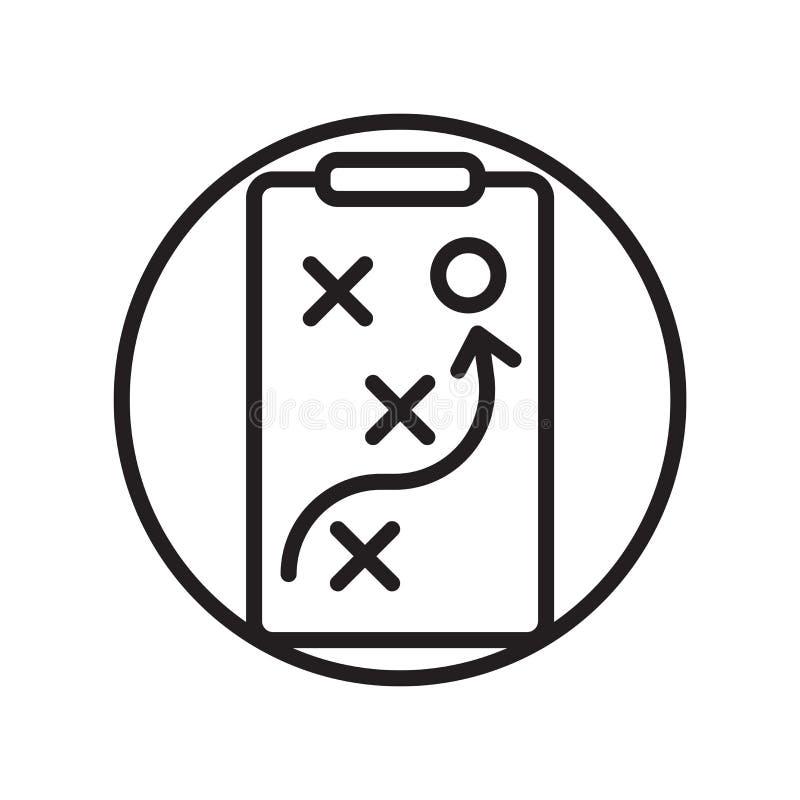 Il vettore dell'icona di tattiche isolato su fondo bianco, tattiche firma, simboli lineari di sport illustrazione vettoriale