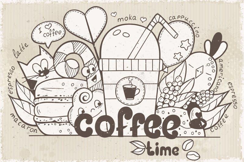 Il vettore dell'illustrazione scarabocchia con i caratteri divertenti sul tema o illustrazione di stock