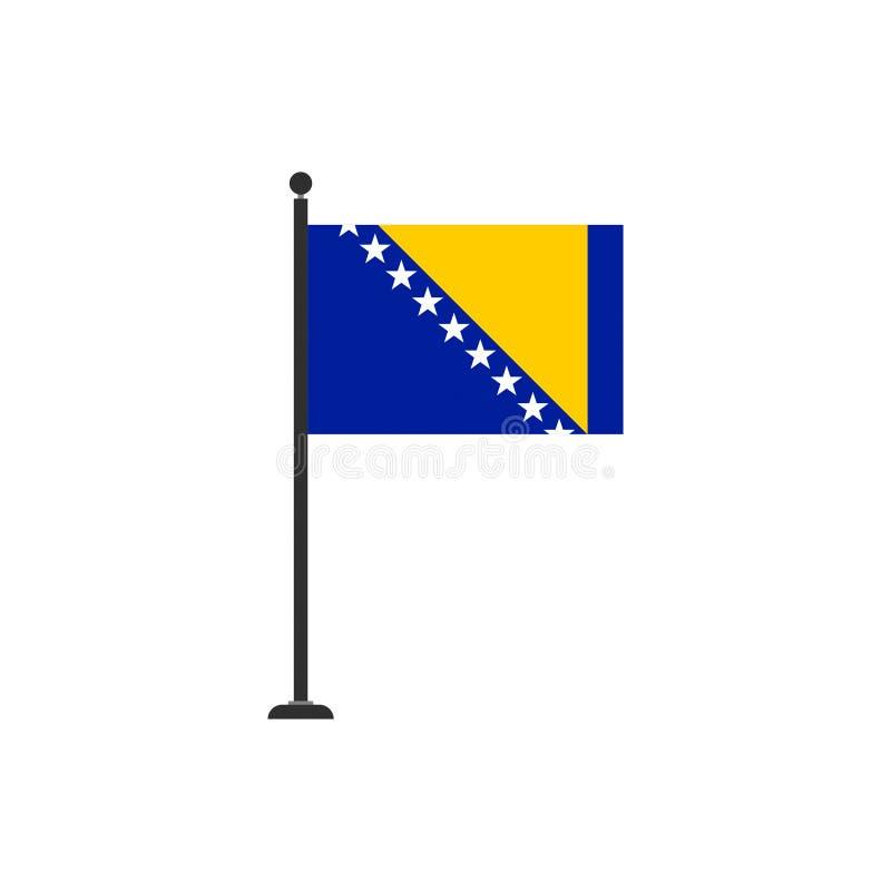 Il vettore della bandiera della Bosnia-Erzegovina ha isolato 3 illustrazione di stock