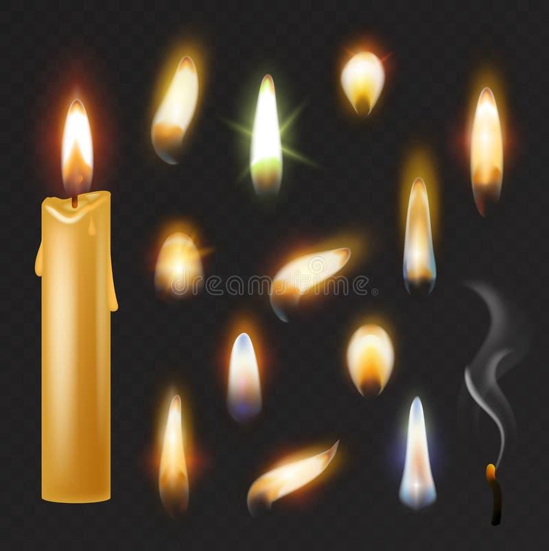 Il vettore della fiamma di candela ha infornato il lume di candela fiammeggiare e l'insieme realistico flamy ardente del fuoco de illustrazione vettoriale