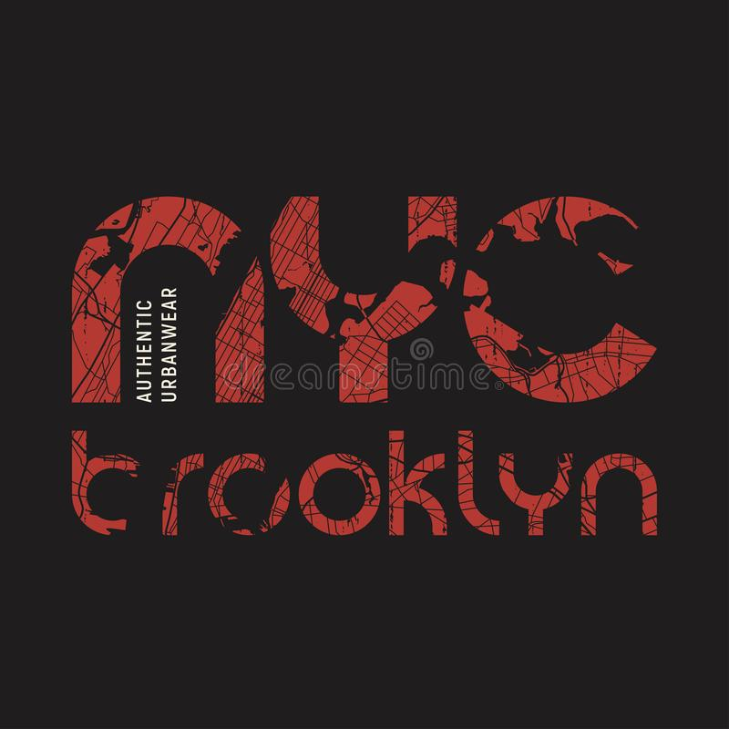 Il vettore della maglietta e dell'abito di New York Brooklyn progetta, stampa, errore illustrazione vettoriale