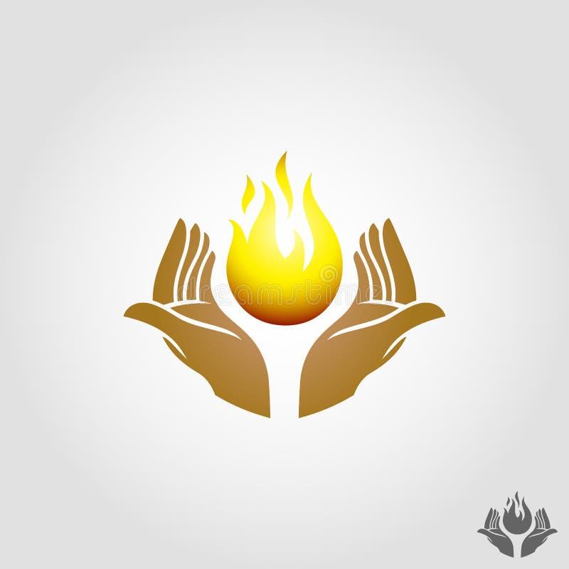 Il vettore della mano del fuoco è un simbolo di potere o una soluzione di risparmio di energia illustrazione di stock