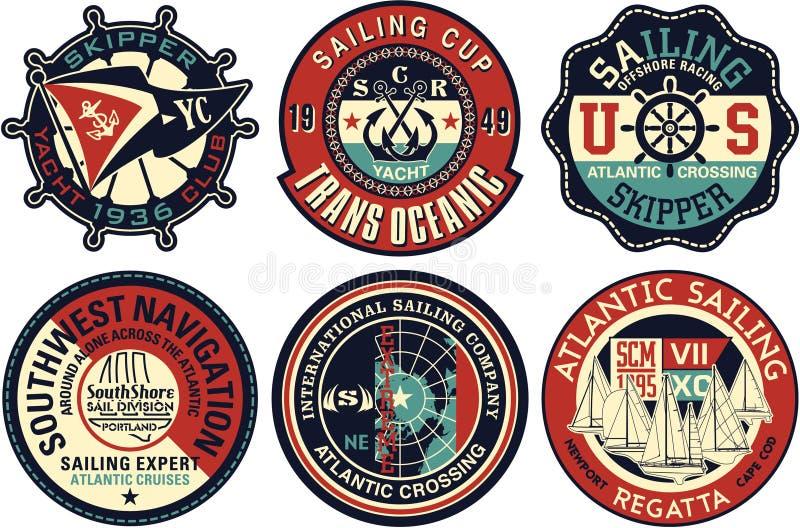 Il vettore della navigazione di navigazione da diporto badges la raccolta royalty illustrazione gratis