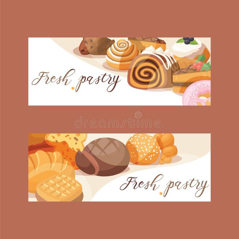 Il vettore della pasticceria ha cotto il bigné della crema del dolce ed il dessert dolce della confezione con il contesto indurit illustrazione vettoriale