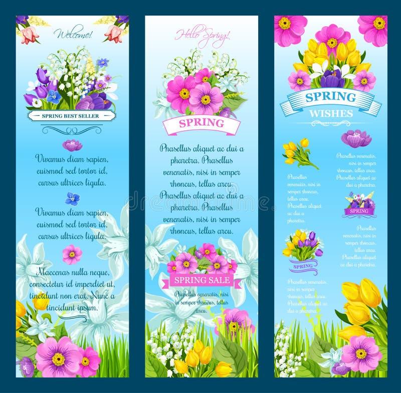 Il vettore della primavera desidera le insegne ed i fiori illustrazione di stock
