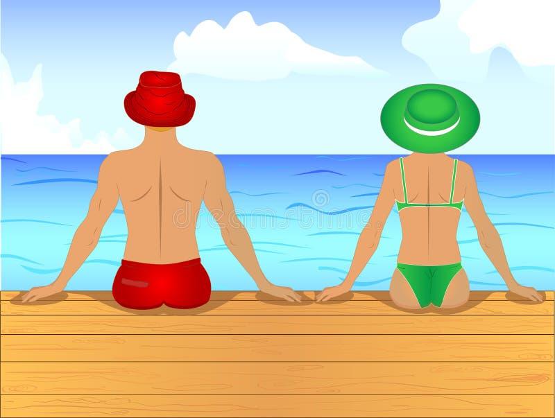 Il vettore delle coppie dell'uomo e del wooman nel nuoto copre la seduta delle sue parti posteriori sul pilastro di legno sulla r immagine stock libera da diritti