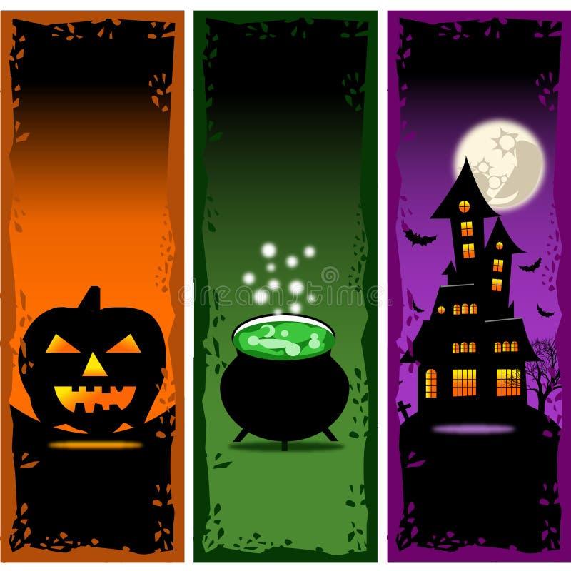 Il vettore delle insegne di Halloween ha messo 2 illustrazione di stock