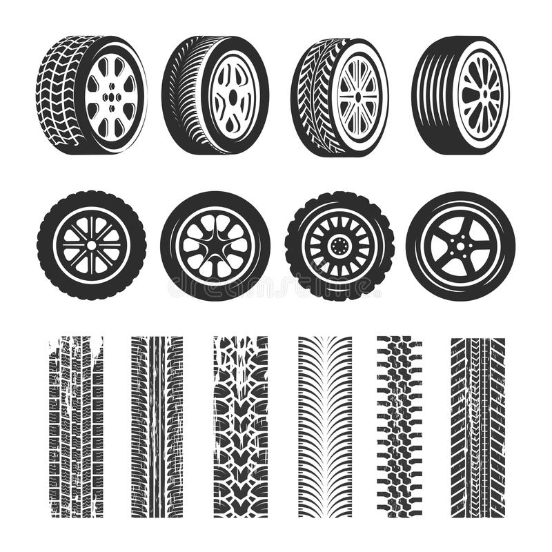 Il vettore delle tracce delle gomme e della pista di automobile ha isolato le icone della gomma illustrazione vettoriale