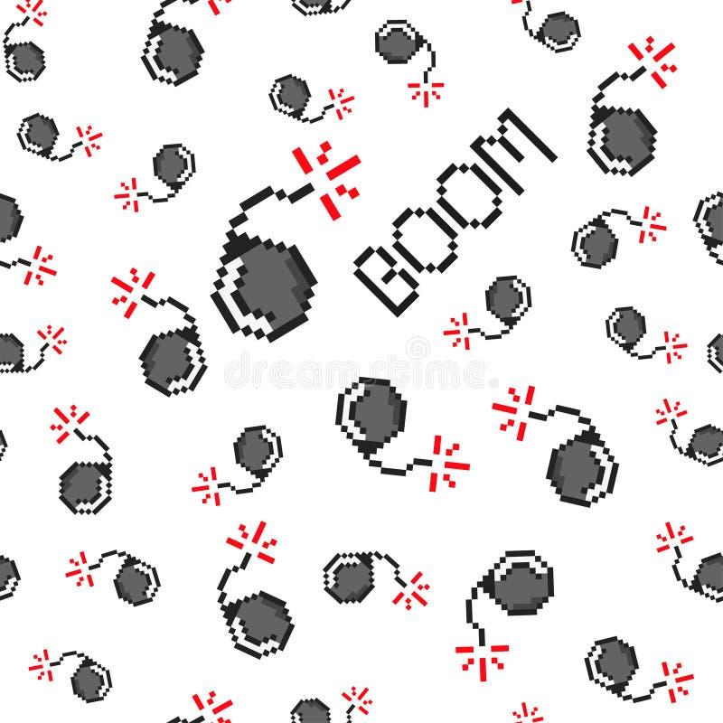 Il vettore di arte del pixel obietta per creare il modello senza cuciture di modo Fondo con le bombe, asta per i ragazzi 80s-90s  illustrazione di stock