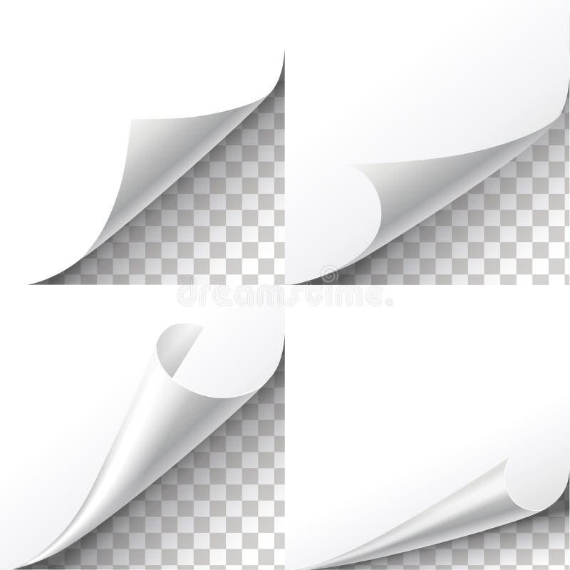 Il vettore di carta degli angoli del ricciolo ha messo su fondo trasparente L'autoadesivo dello strato, vibrazione orla l'illustr illustrazione di stock