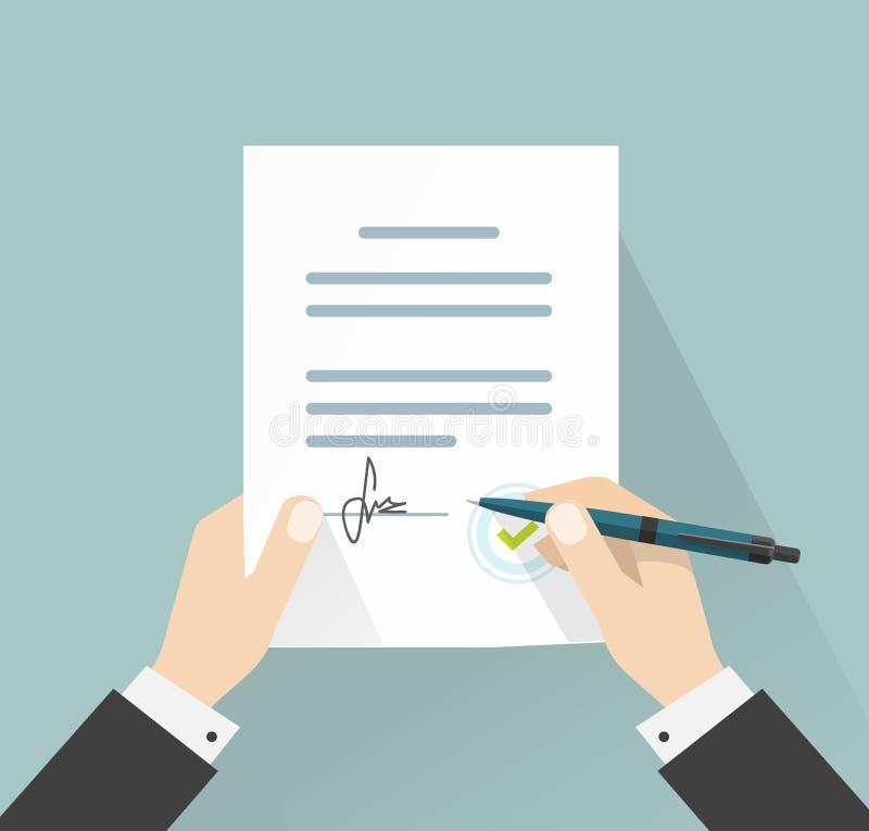 Il vettore di firma del documento dell'uomo d'affari, mani che tengono il contratto ha firmato l'accordo legale illustrazione vettoriale
