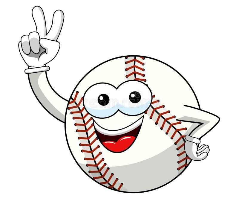 Il vettore di gesto del segno di vittoria del fumetto della mascotte del carattere della palla di baseball ha isolato royalty illustrazione gratis