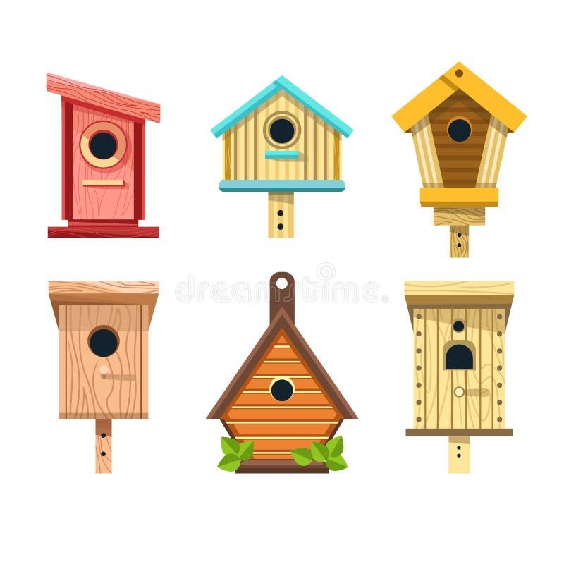 Il vettore di legno degli aviari ha isolato i nidi per deporre le uova delle icone per appendere sulle piccole costruzioni dell'a royalty illustrazione gratis