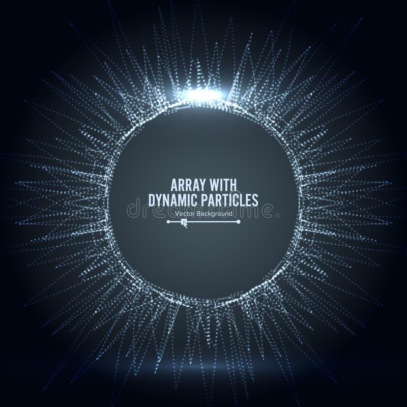Il vettore di matrice con spruzzata ha emesso le particelle Grande complesso di dati Il fondo astratto di visualizzazione ha turb illustrazione vettoriale