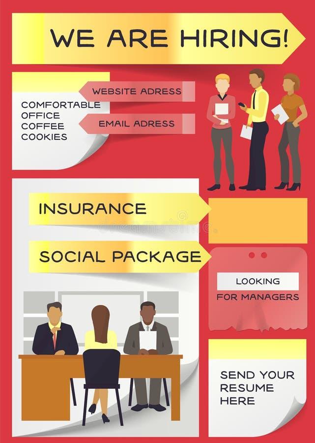 Il vettore di noleggio di lavoro ha intervistato la gente sulla riunione di intervista di affari e sull'intervistato di reclutame illustrazione di stock