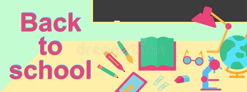 Il vettore di nuovo all'insegna di scuola con istruzione fornisce tali noi libro, telefono royalty illustrazione gratis