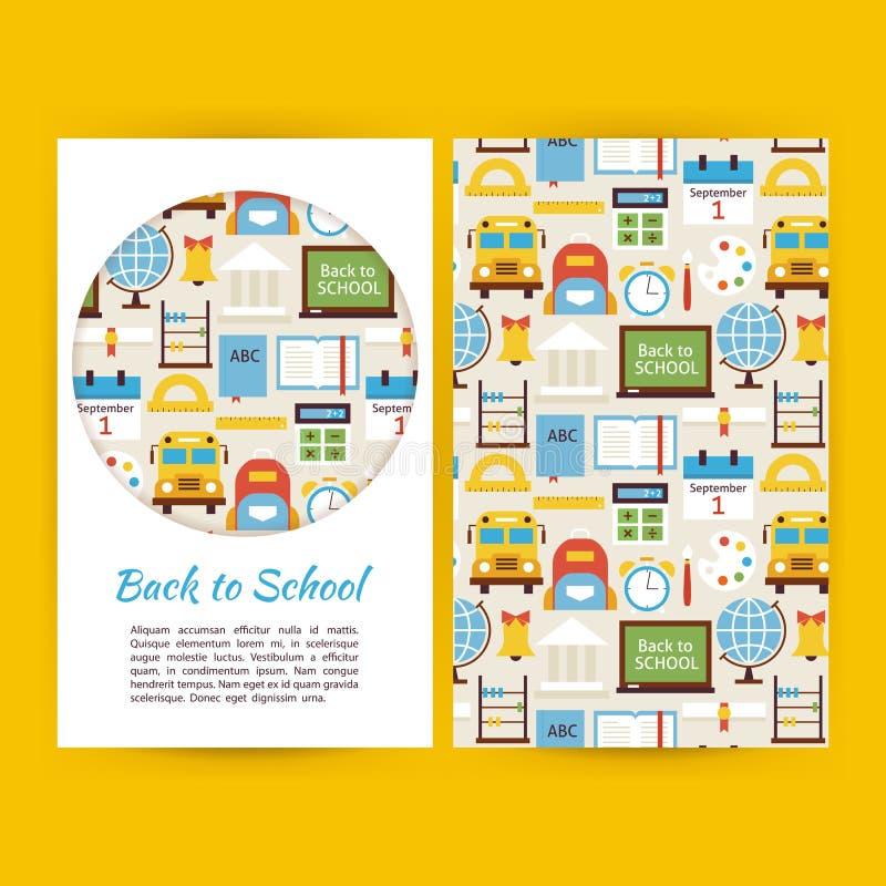 Il vettore di nuovo alle insegne di affari della scuola ha messo il modello illustrazione di stock