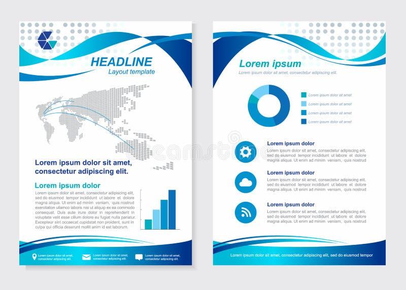 Il vettore di onda blu della pagina anteriore di dimensione A4 del modello della disposizione e della pagina posteriore progetta royalty illustrazione gratis