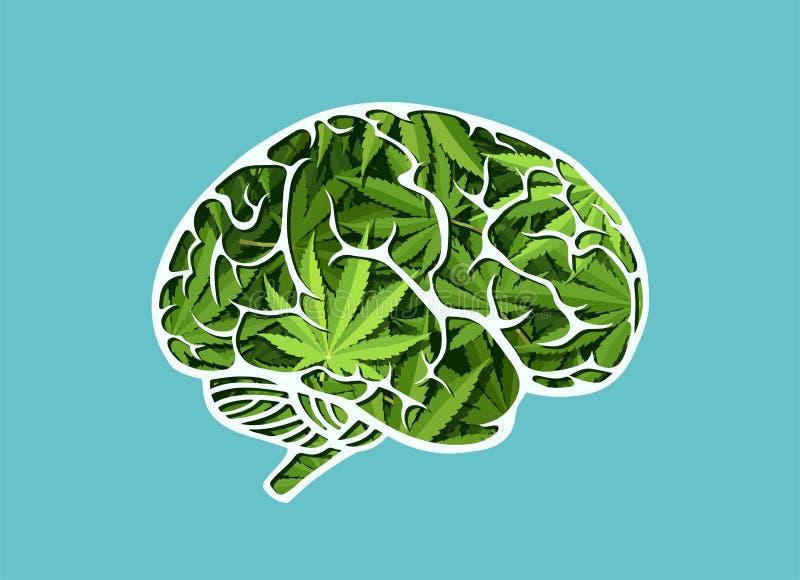 Il vettore di un cervello umano fatto di marijuana va illustrazione di stock
