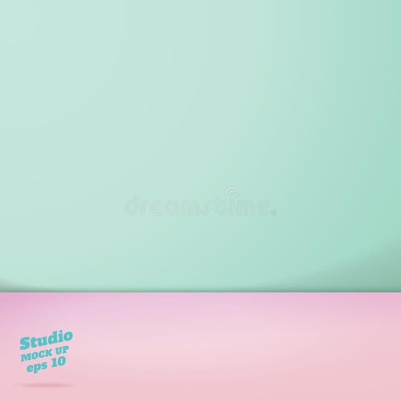 Il vettore di verde pastello vuoto e dentella la stanza dello studio di colore di tono due illustrazione vettoriale