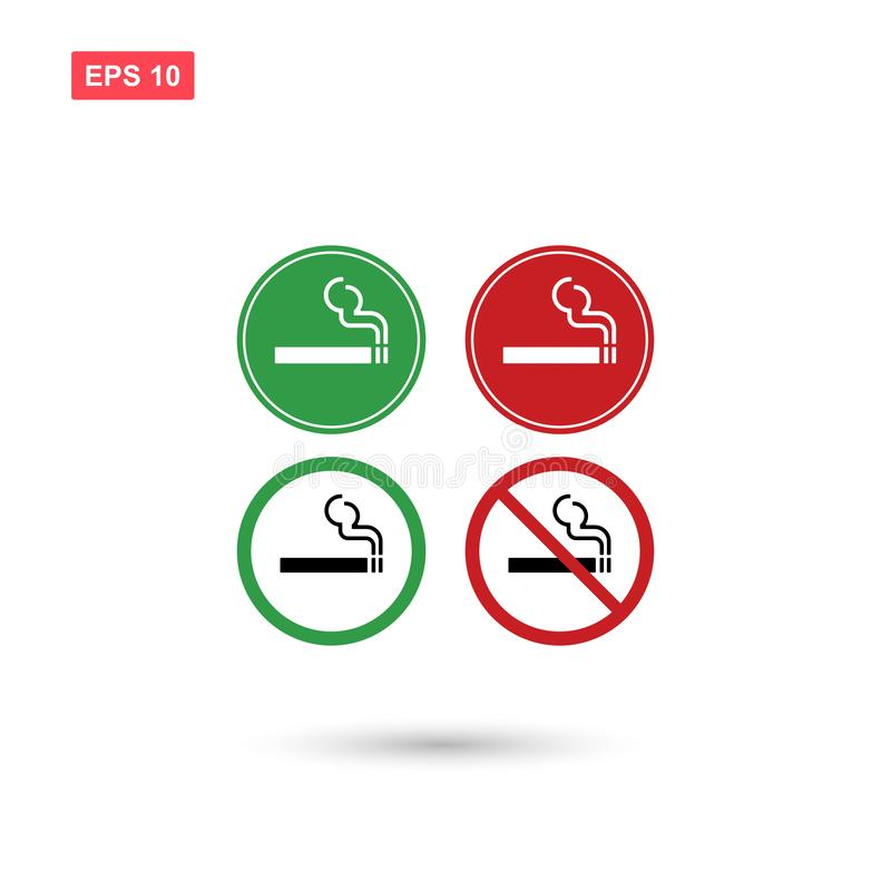 Il vettore di zona fumatori e non fumatori del segno ha isolato illustrazione vettoriale