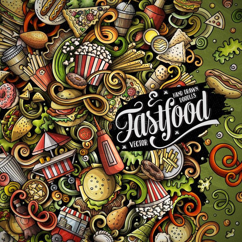 Il vettore disegnato a mano di pasto rapido scarabocchia l'illustrazione Progettazione di carta della struttura degli alimenti a  illustrazione vettoriale