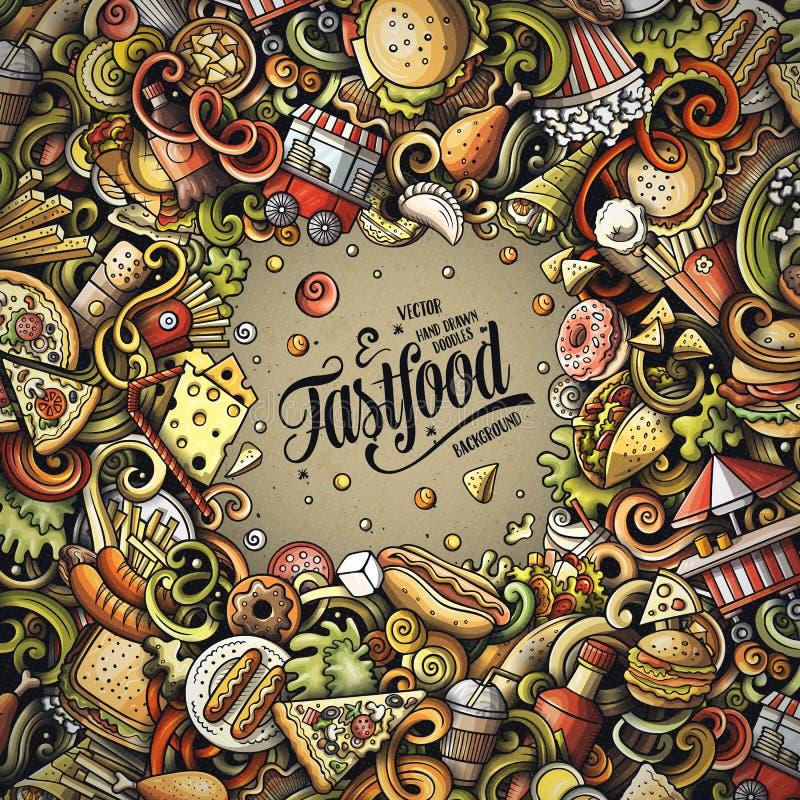 Il vettore disegnato a mano di pasto rapido scarabocchia l'illustrazione Progettazione di carta della struttura degli alimenti a  illustrazione di stock