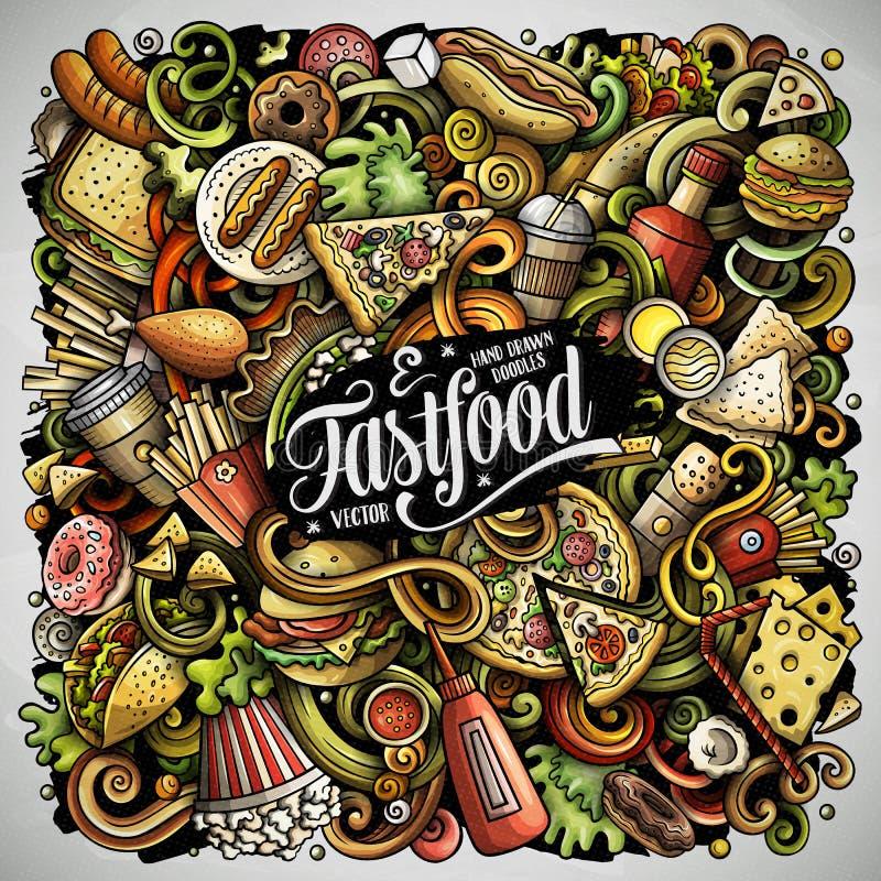 Il vettore disegnato a mano di pasto rapido scarabocchia l'illustrazione Progettazione del manifesto degli alimenti a rapida prep illustrazione vettoriale