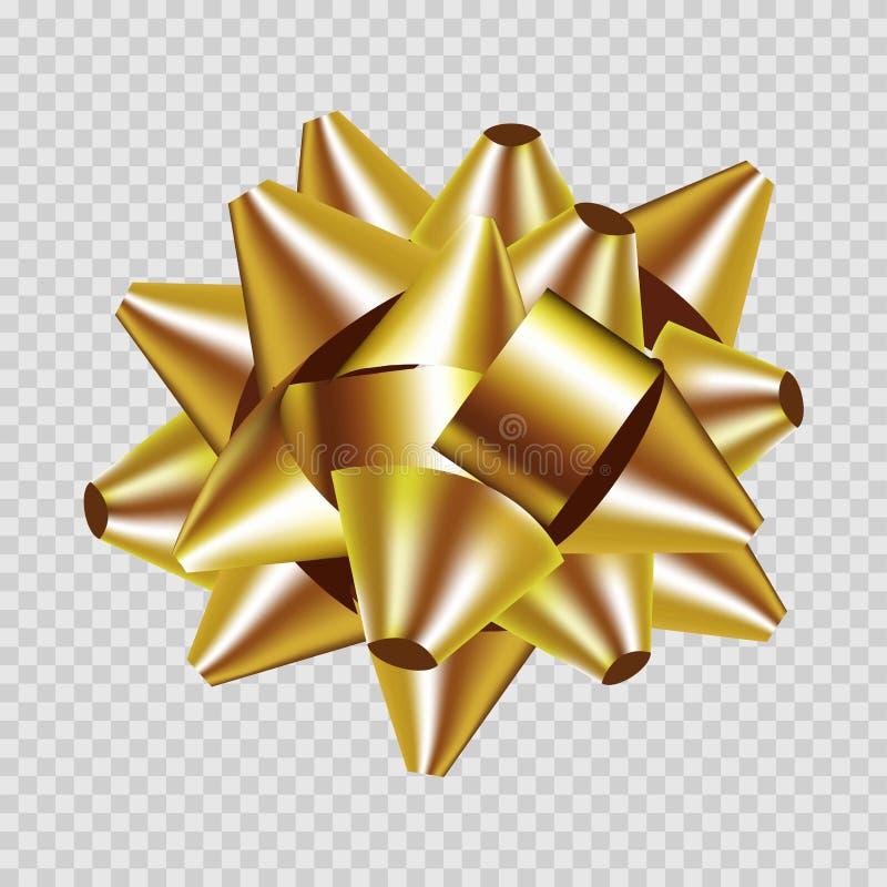 Il vettore dorato 3d dell'arco del nastro del contenitore di regalo ha isolato l'icona illustrazione vettoriale
