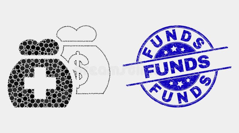 Il vettore Dot Medical Funds Icon ed i fondi di emergenza timbrano illustrazione vettoriale