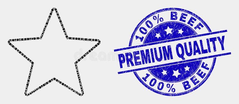 Il vettore Dot Star Icon e Scratched 100 per cento rinforza il marchio di qualità premio illustrazione vettoriale