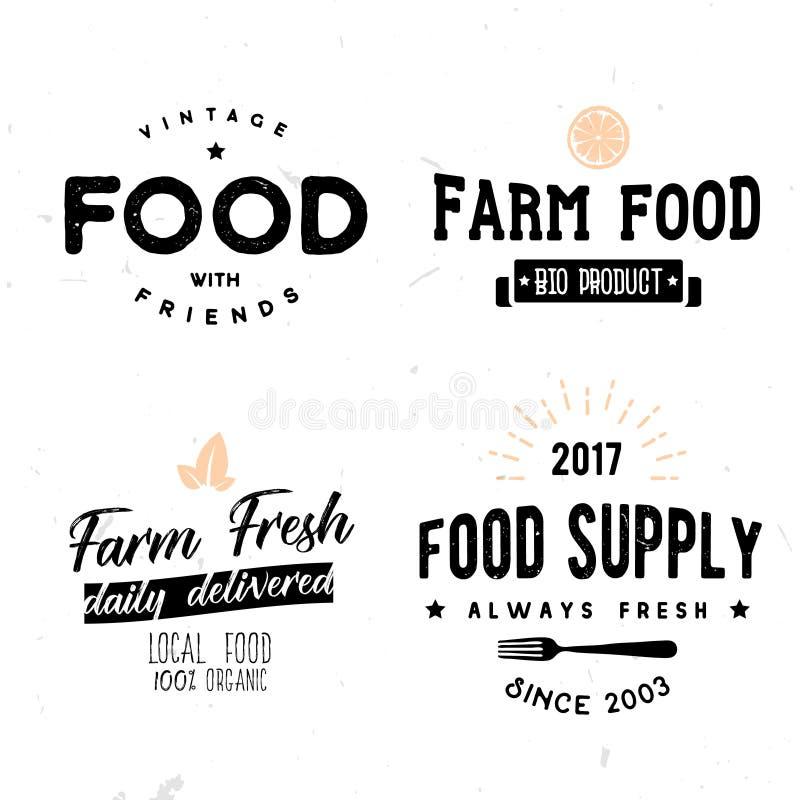 Il vettore firma dentro lo stile d'annata dell'alimento dell'azienda agricola di eco illustrazione vettoriale