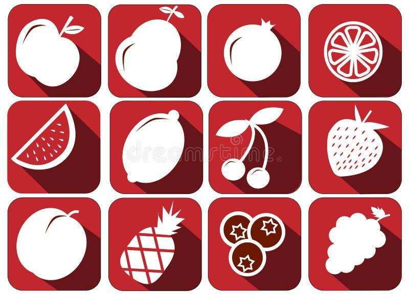 Il vettore fruttifica icone ha messo - le illustrazioni sane fresche fotografia stock libera da diritti