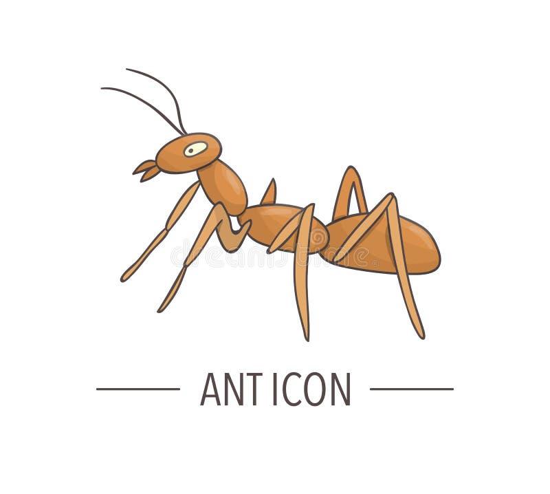 Il vettore ha colorato l'icona della formica isolata su fondo bianco illustrazione vettoriale