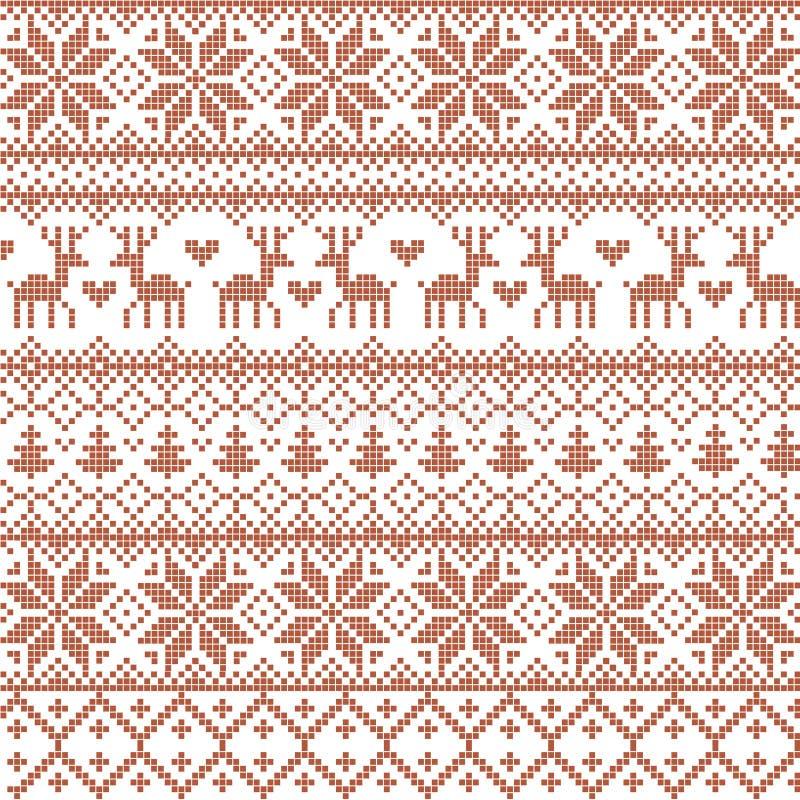 Il vettore ha illustrato il modello nordico rosso tradizionale con i cervi, i cuori, i fiocchi di neve e gli alberi di Natale illustrazione di stock