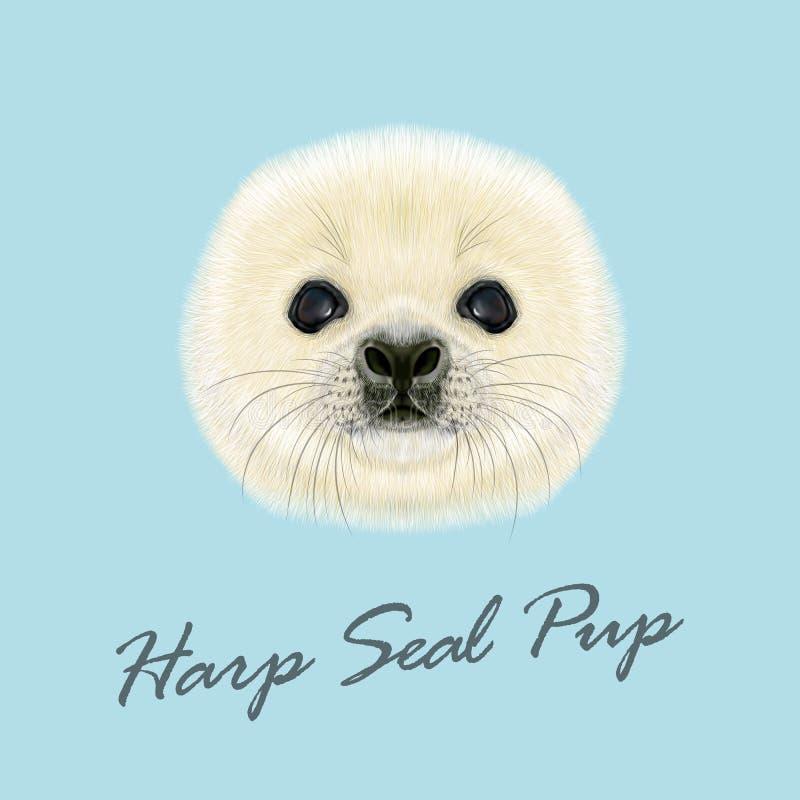 Il vettore ha illustrato il ritratto del cucciolo di foca dell'arpa royalty illustrazione gratis