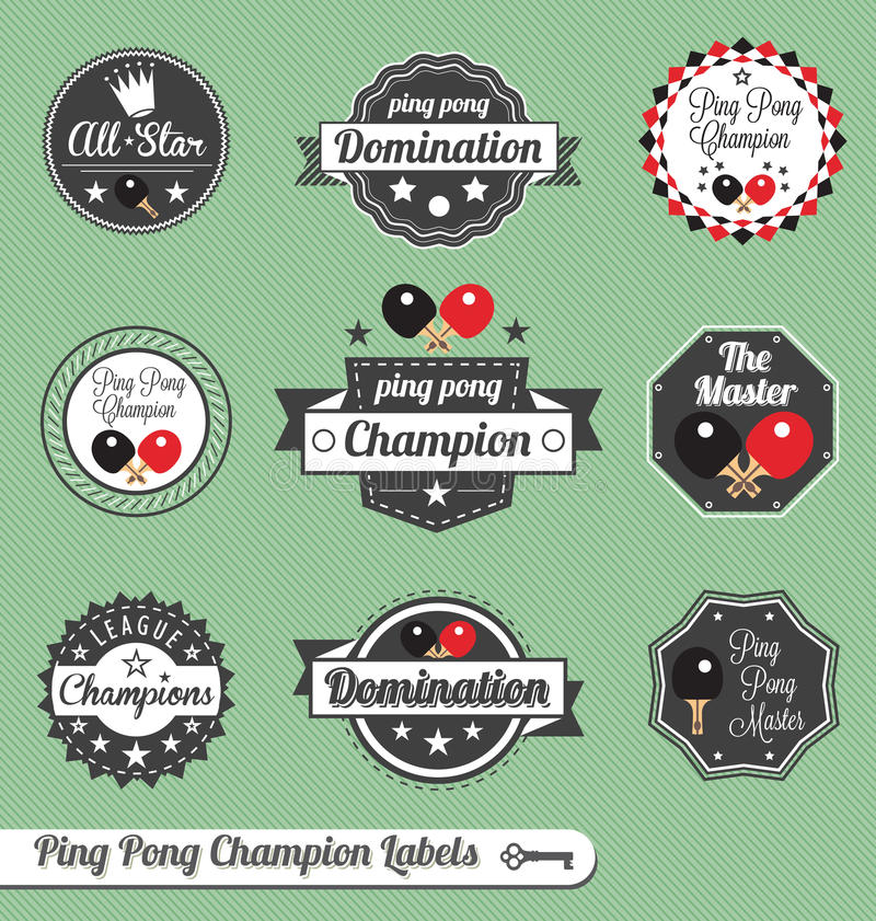 Il vettore ha impostato: Contrassegni ed icone del campione di Pong di rumore metallico royalty illustrazione gratis