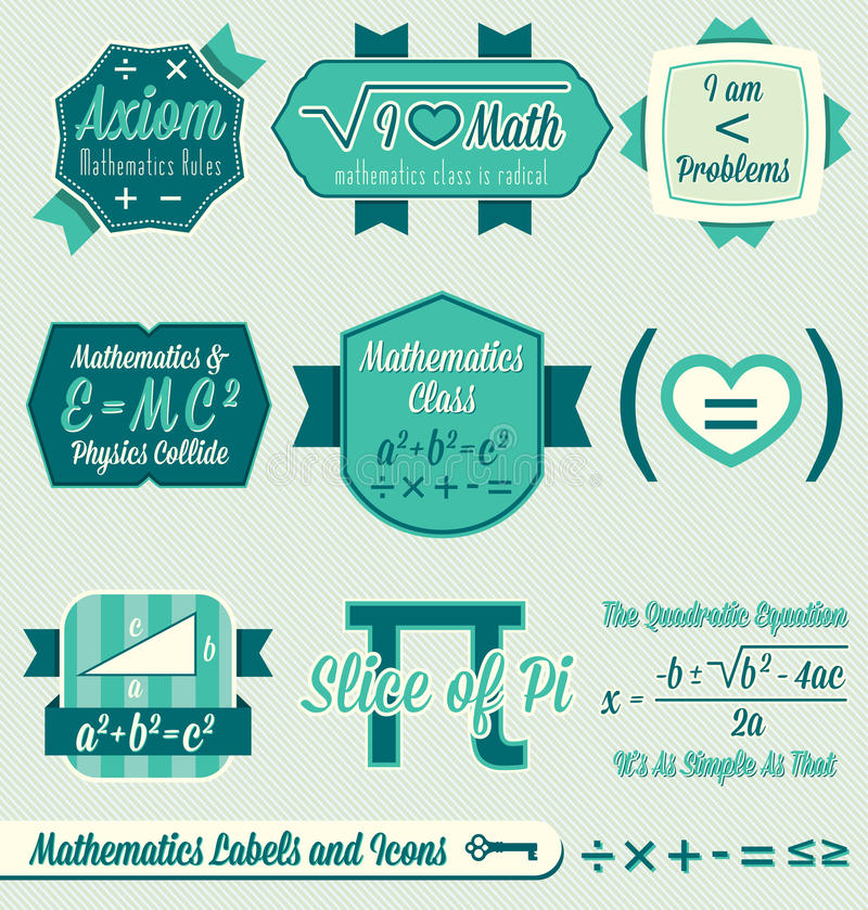 Il vettore ha impostato: Contrassegni ed icone di per la matematica dell'annata illustrazione vettoriale