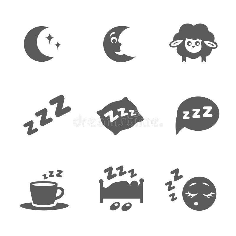 Il vettore ha isolato le icone di sonno messe illustrazione vettoriale