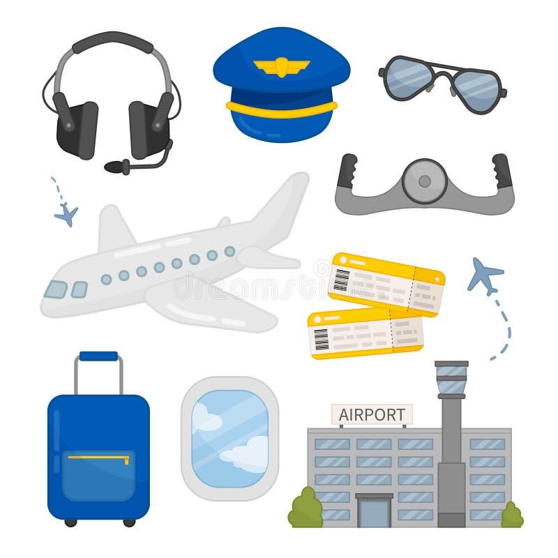 Il vettore ha messo delle icone di aviazione royalty illustrazione gratis