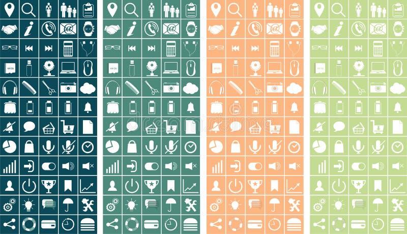 Il vettore ha messo le icone piane di web sui temi seguenti - SEO e lo sviluppo, processo creativo, affare, ufficio, acquisto illustrazione vettoriale