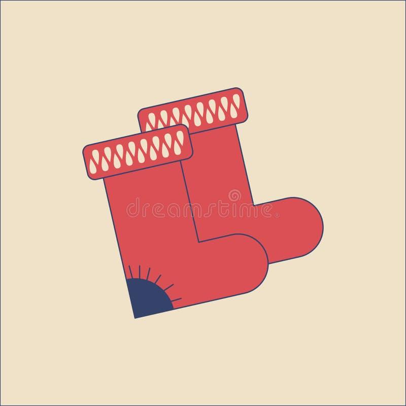 Il vettore ha ritenuto gli stivali nello stile piano moderno su fondo leggero Manifesto con gli stivali del feltro illustrazione di stock