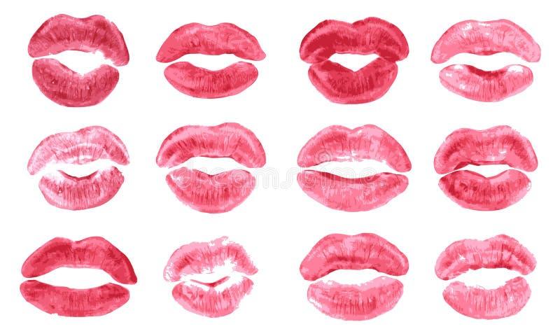 Il vettore isolato stampa di bacio del rossetto ha messo le labbra di corallo rosa-rosso ha fissato le forme differenti illustrazione di stock