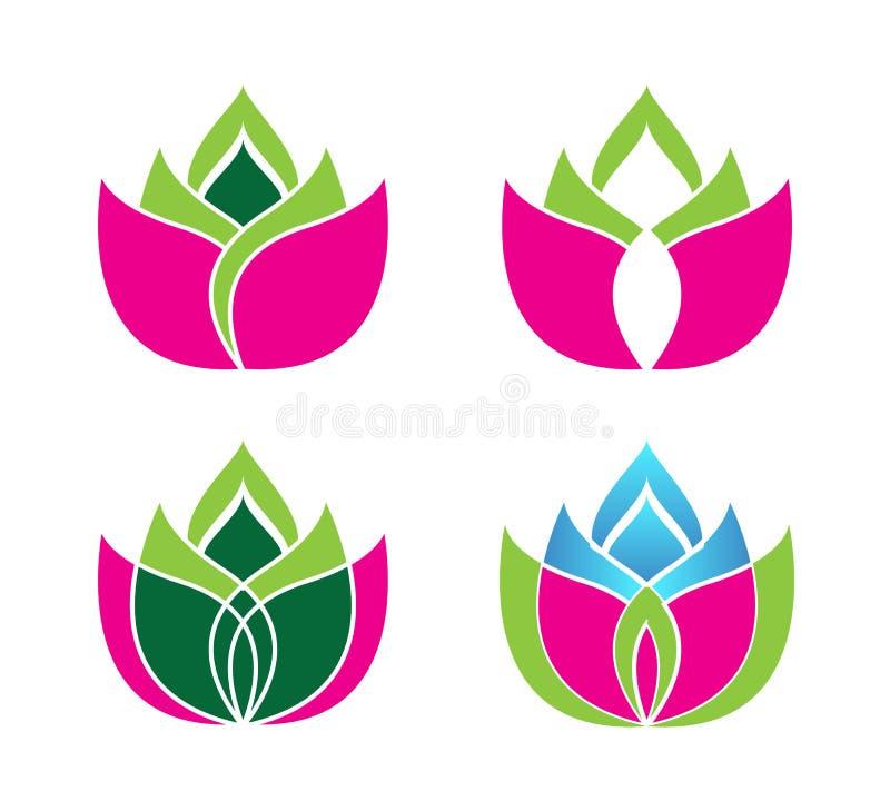 Il vettore Lotus di bellezza fiorisce il modello dell'insieme di logo di progettazione Etichetta, affare illustrazione vettoriale