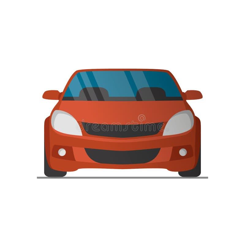 Il vettore mette in mostra la vista frontale dell'automobile rossa illustrazione di stock