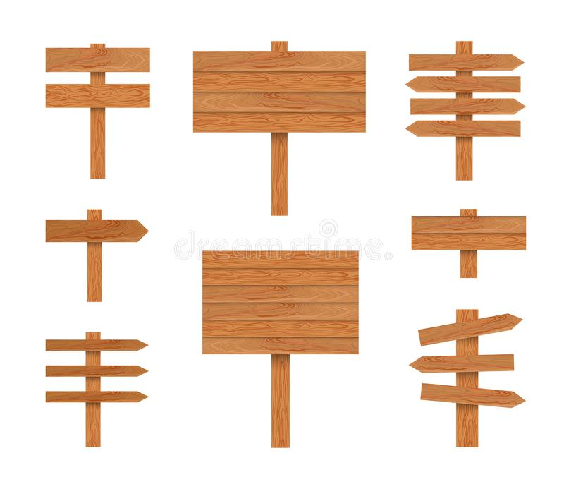Il vettore munisce di segnaletica l'illustrazione, puntatori di legno messi isolati su fondo bianco, struttura di legno illustrazione vettoriale