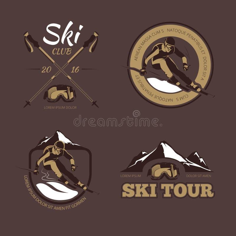 Il vettore nordico di corsa con gli sci simbolizza, etichette, i distintivi, logos messo illustrazione vettoriale