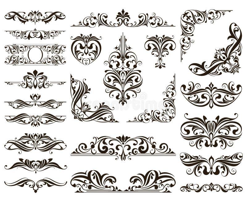 Il vettore ornamentale dei confini e degli angoli del pizzo di progettazione ha messo gli elementi degli ornamenti floreali di ar illustrazione vettoriale